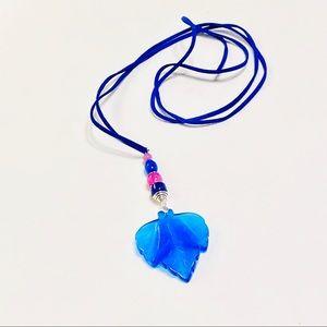 PURE Blue Cat's Eye & Agate Aspen Leaf Necklace